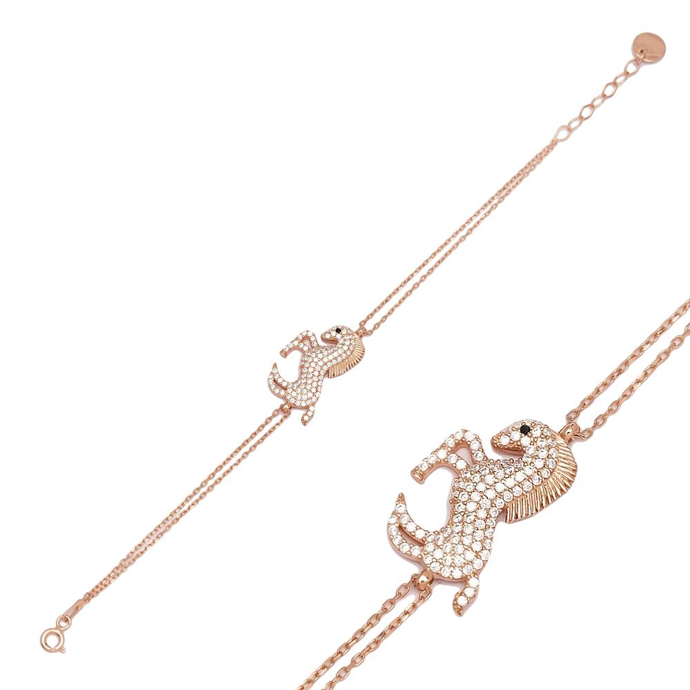 Horse Design Zircon Stone Charm Bracelet Turkish Handmade Wholesale 925 Sterling Silver Jewelry
