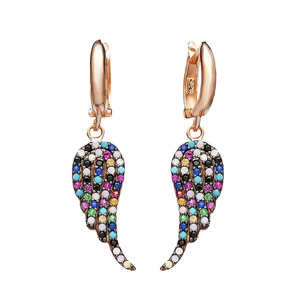 Dangle Clip On Angel Wing Earrings Wholesale Sterling Silver Earring