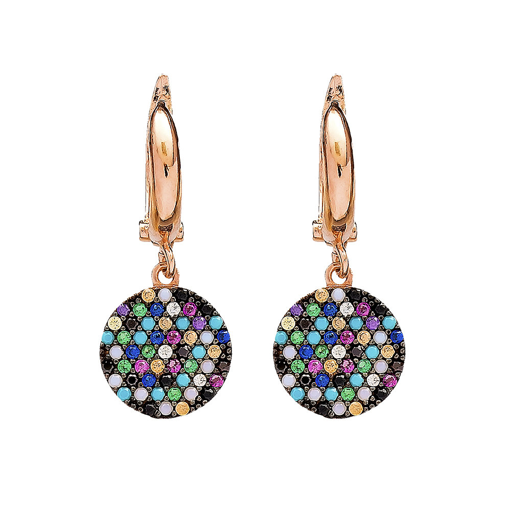 Mix Stone Round Earrings Wholesale Turkish Sterling Silver Earring