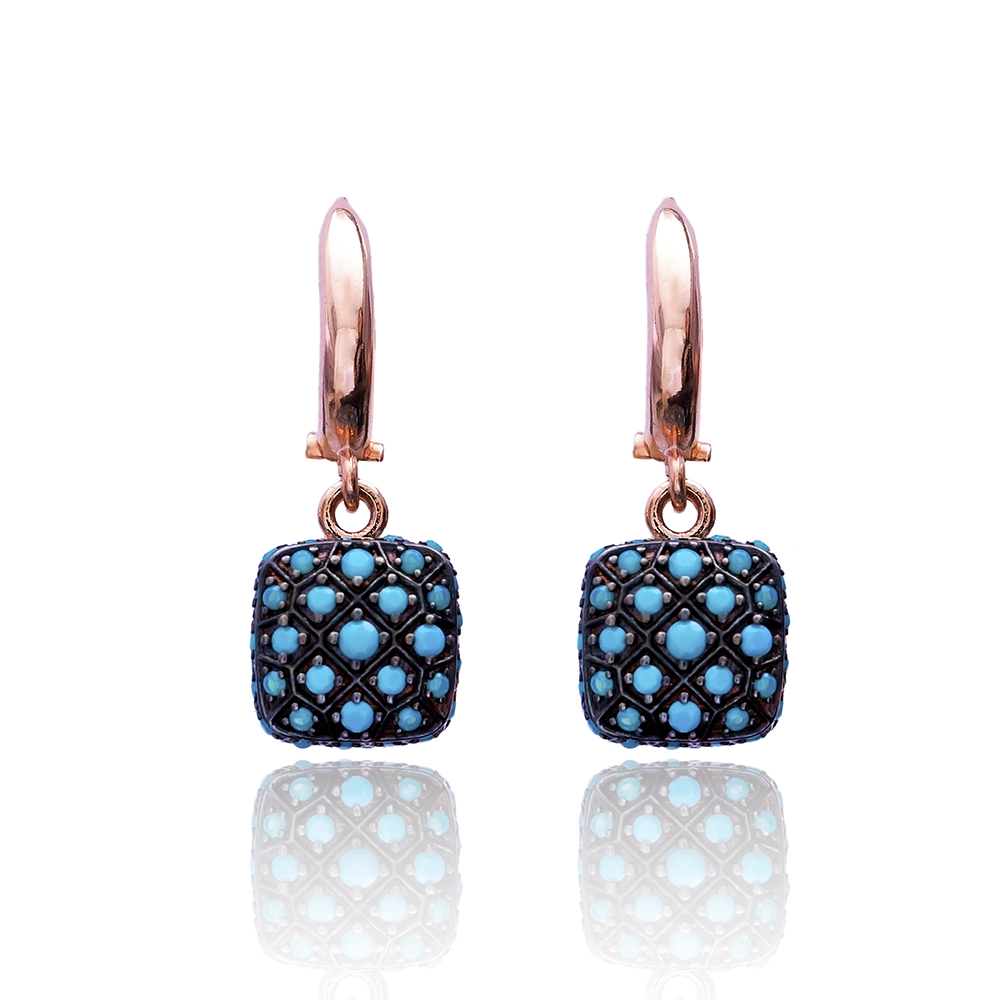 Nano Turquoise Square Earrings Turkish Wholesale 925 Sterling Silver Jewelry
