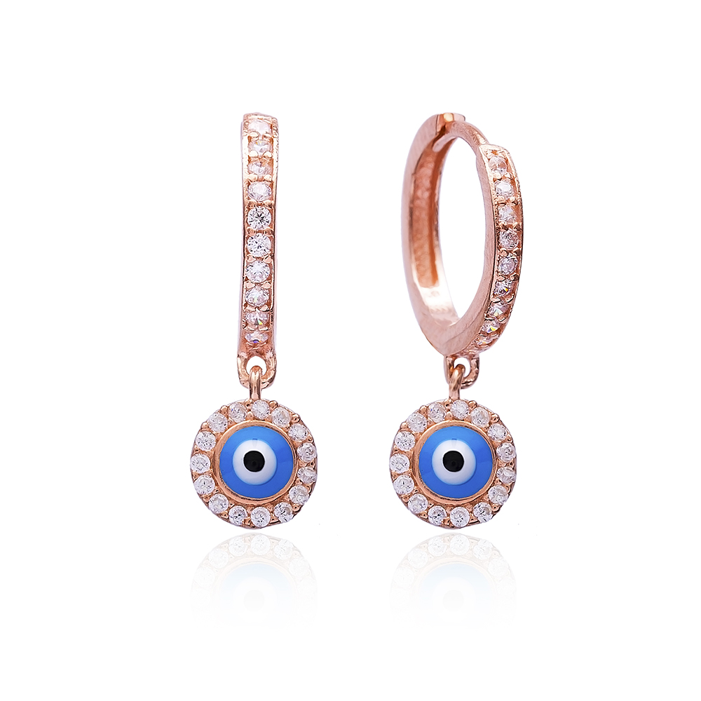 Simple Evil Eye Earrings Turkish Wholesale 925 Sterling Silver Jewelry