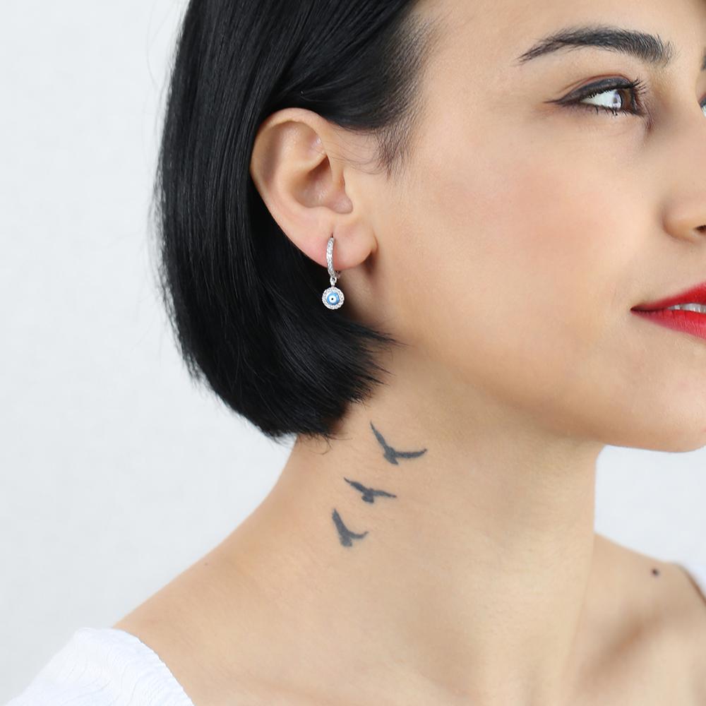 Simple Evil Eye Earrings Turkish Wholesale 925 Sterling Silver Jewelry
