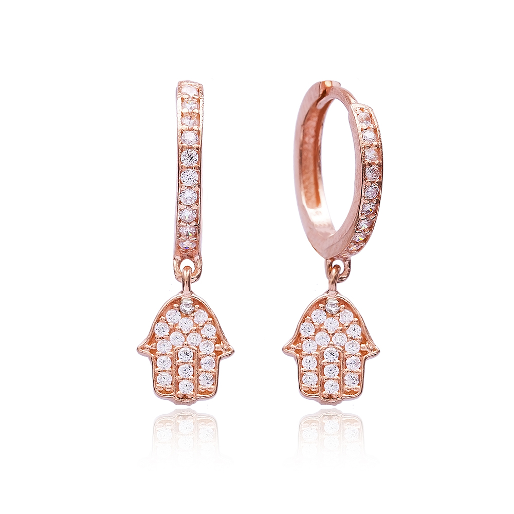 Simple Hamsa Earrings Turkish Wholesale 925 Sterling Silver Jewelry