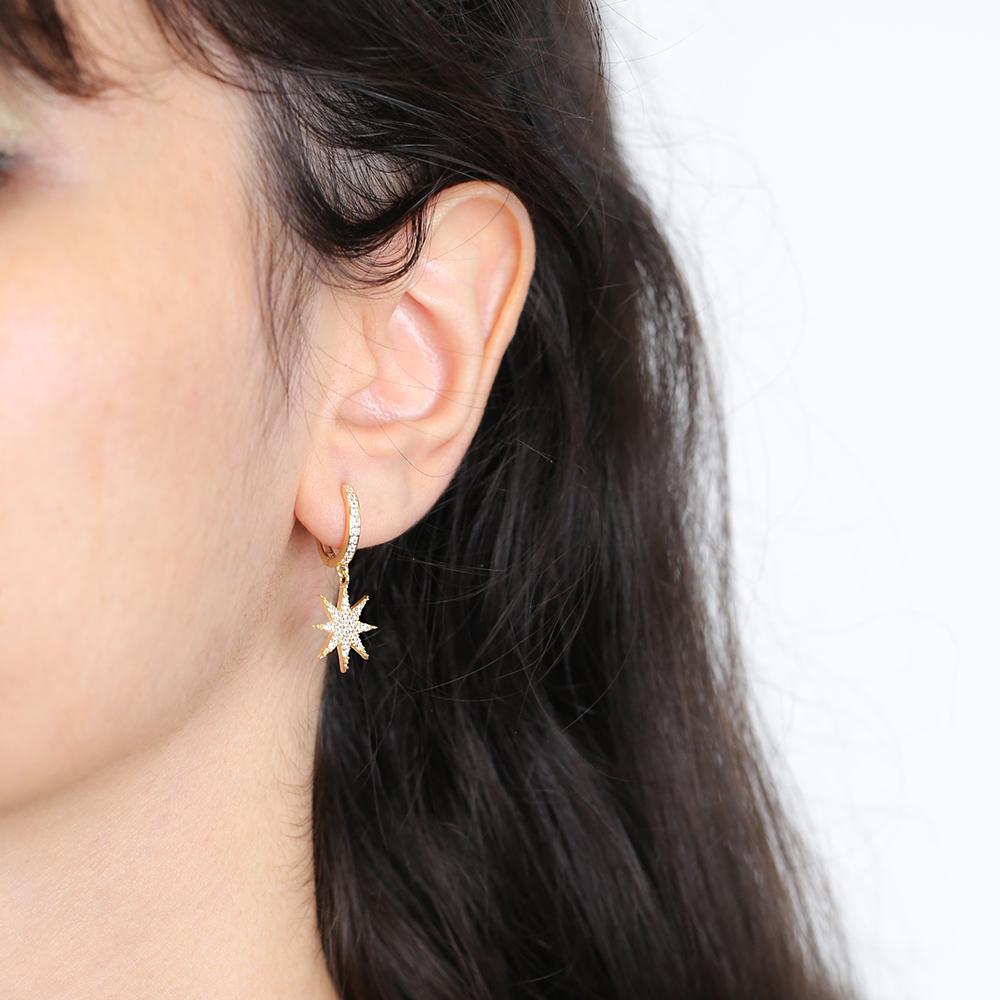 Simple CZ Star Earrings Turkish Wholesale 925 Sterling Silver Jewelry