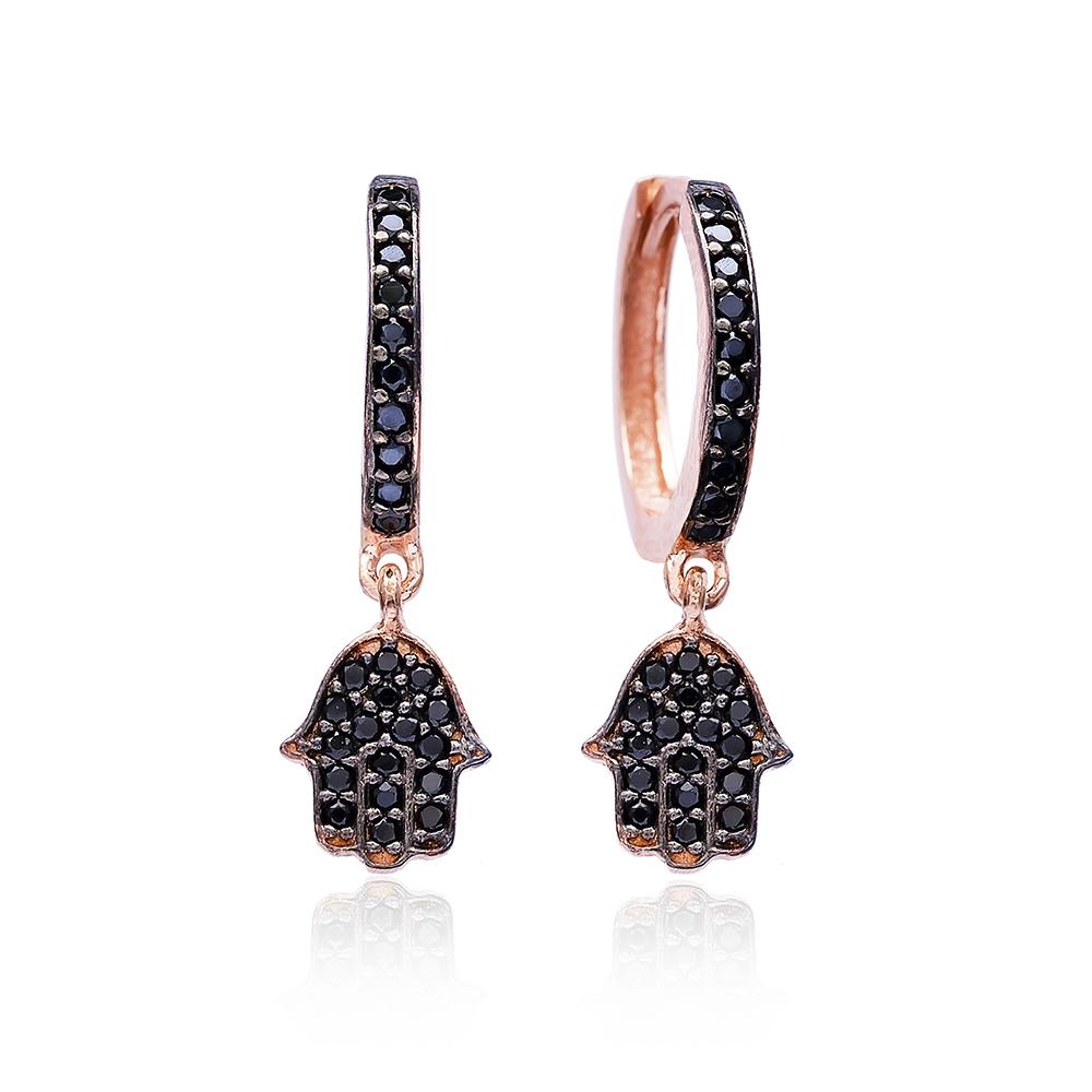 Black Zircon Hamsa Earrings Wholesale 925 Sterling Silver Jewelry