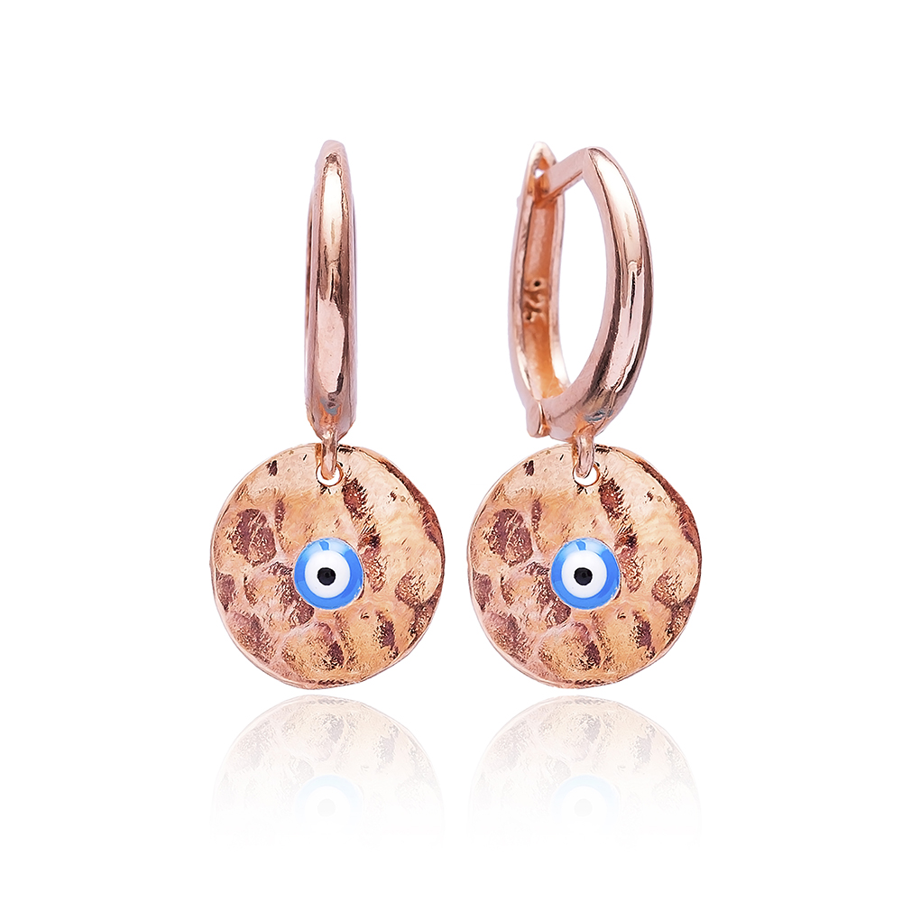Hammered Evil Eye Earrings Wholesale 925 Sterling Silver Jewelry