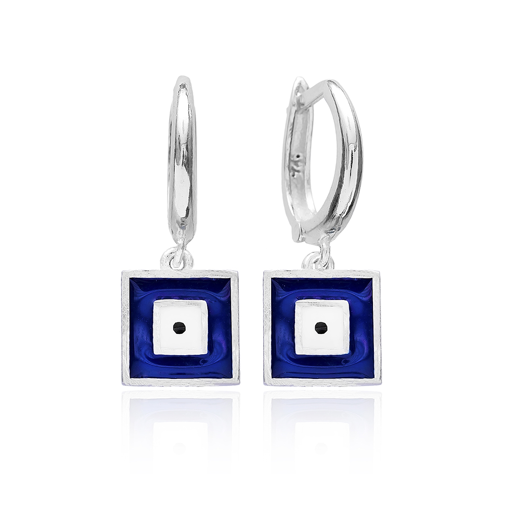 Enamel Clip On Evil Eye Earrings Wholesale 925 Sterling Silver Jewelry