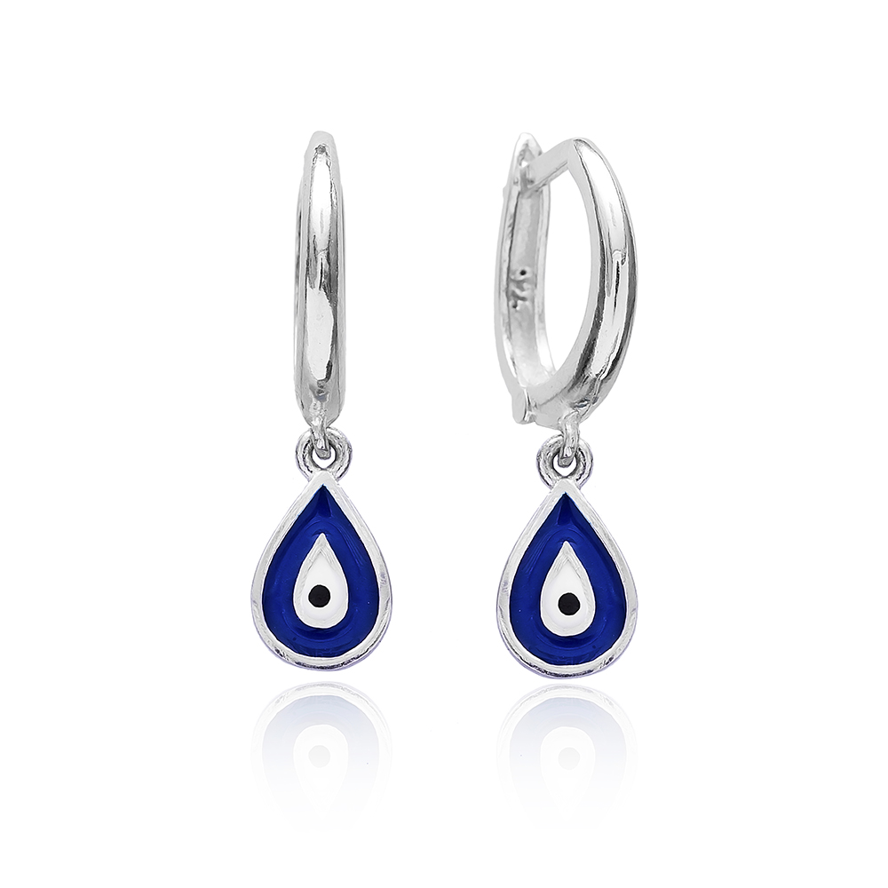 Enamel Evil Eye Clip On Earrings Wholesale 925 Sterling Silver Jewelry