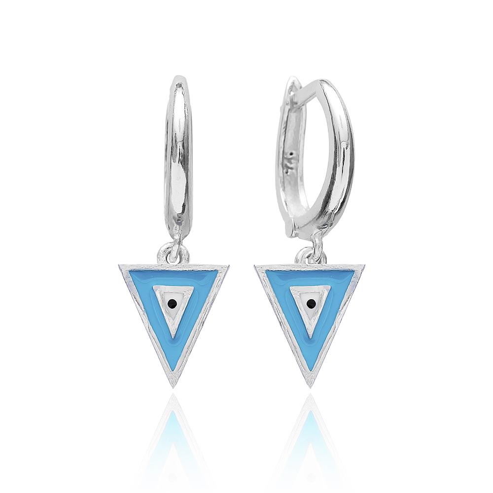 Enamel Clip On Evil Eye Earrings Wholesale 925 Sterling Silver Jewelry