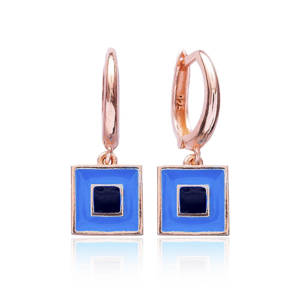 Enamel Clip On Earrings Evil Eye Wholesale 925 Sterling Silver Jewelry