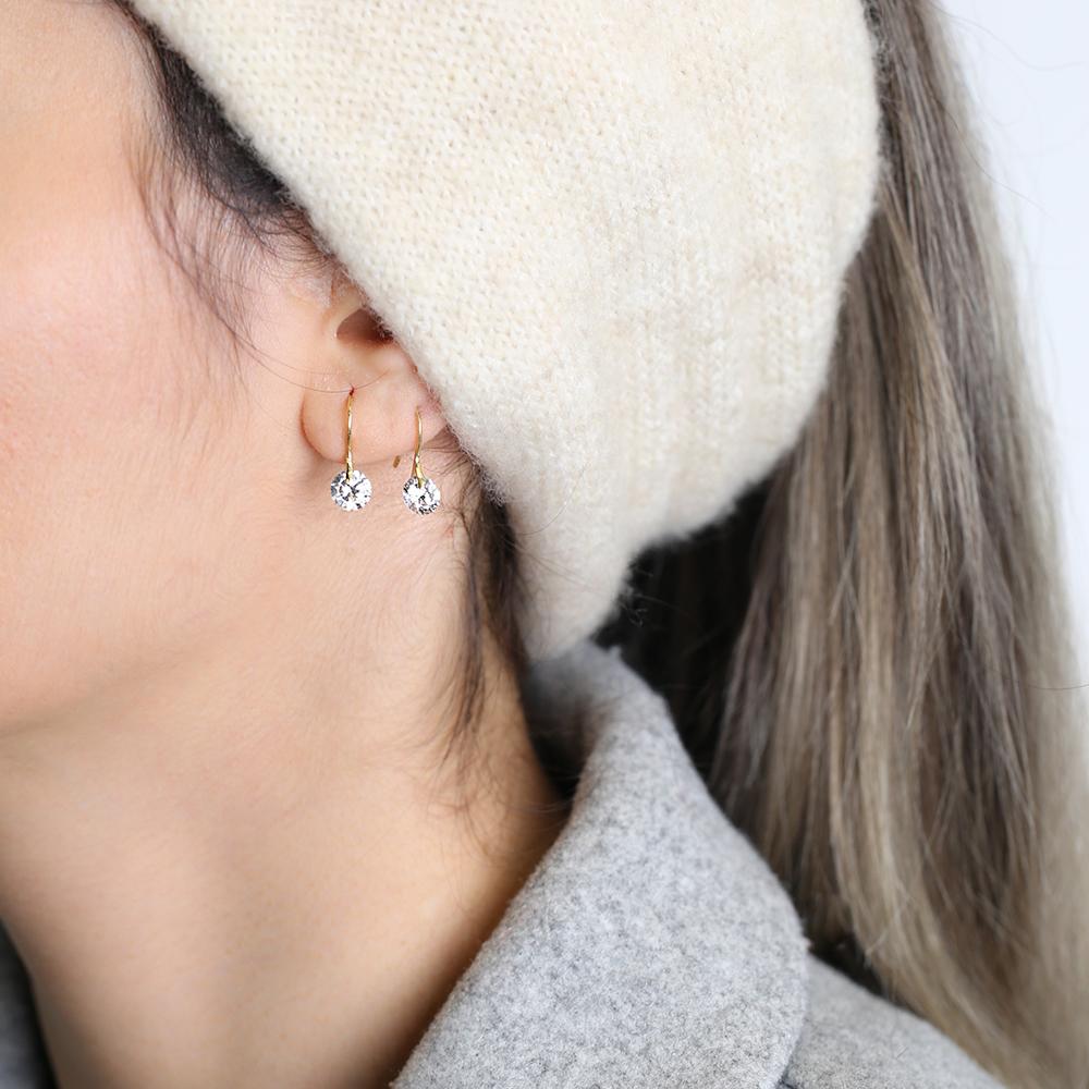 Zircon Hook Design Earrings Wholesale 925 Sterling Silver Jewelry