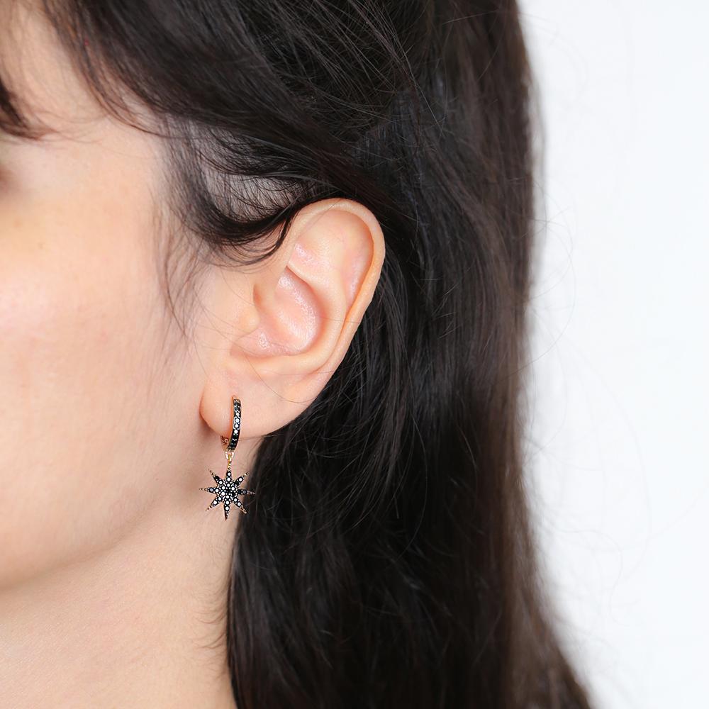 Black Zircon Dainty Star Earrings Wholesale 925 Sterling Silver Jewelry
