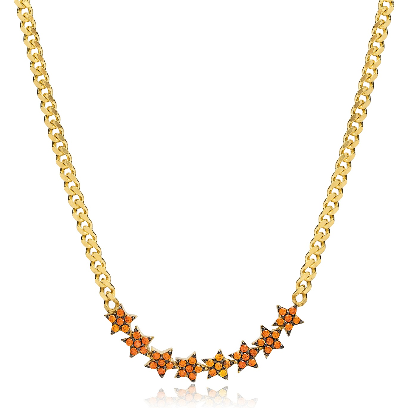 Orange Stone Color Cluster Star Design Choker Necklace Wholesale Handcraft 925 Sterling Silver Jewelry