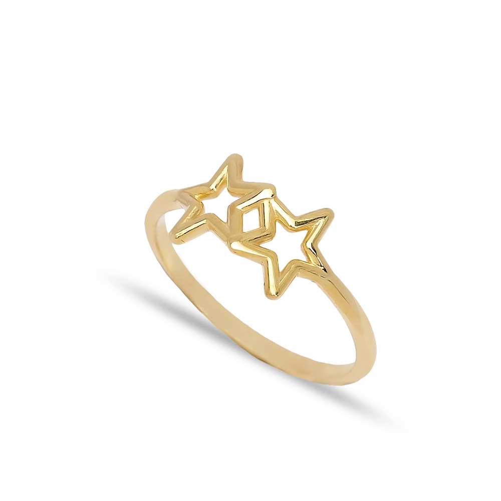 925 Silver Double Star Plain Ring Wholesale Handcrafted Silver Jewelry