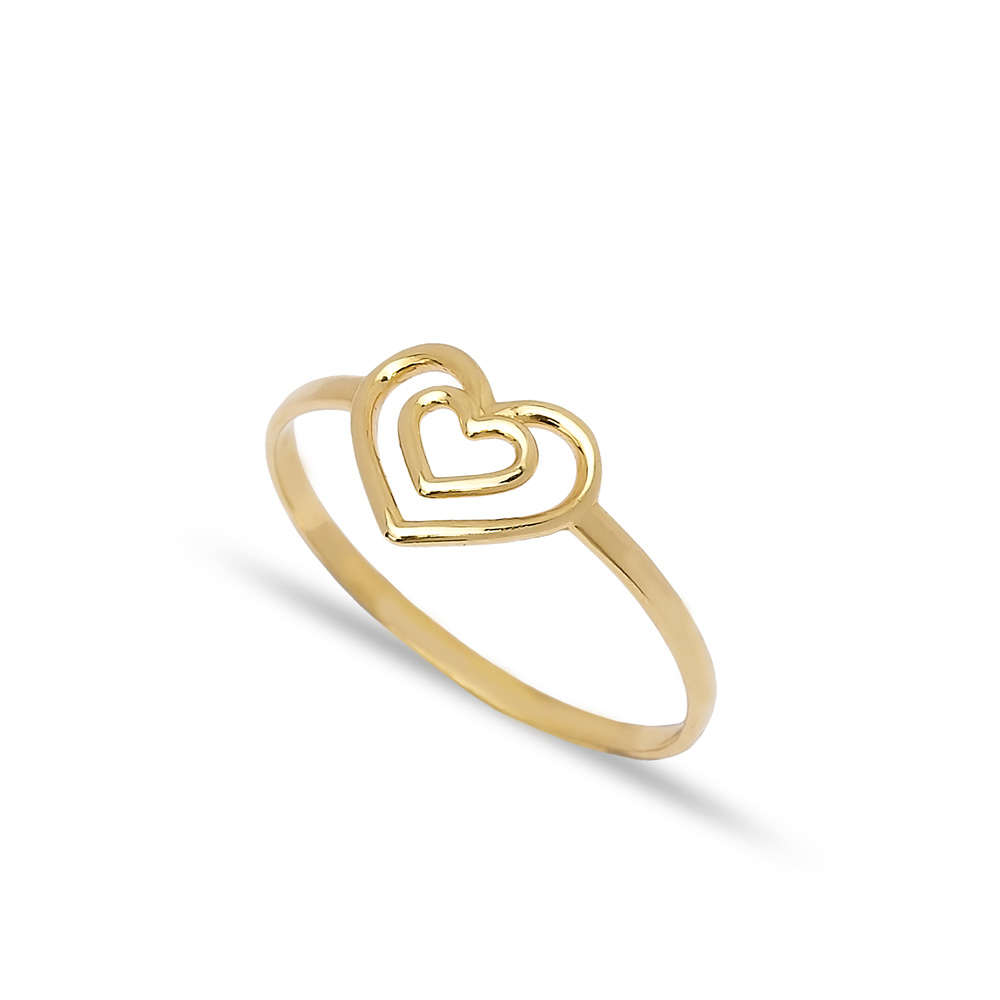 925 Silver Double Heart Design Plain Ring Wholesale Handcrafted Silver Jewelry
