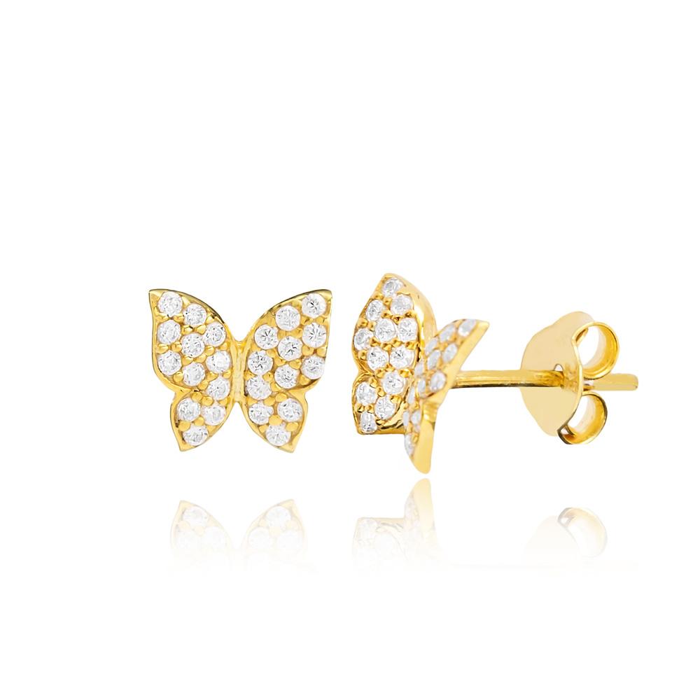 CZ Stone Minimal Butterfly Silver Earring Wholesale 925 Sterling Silver Jewelry