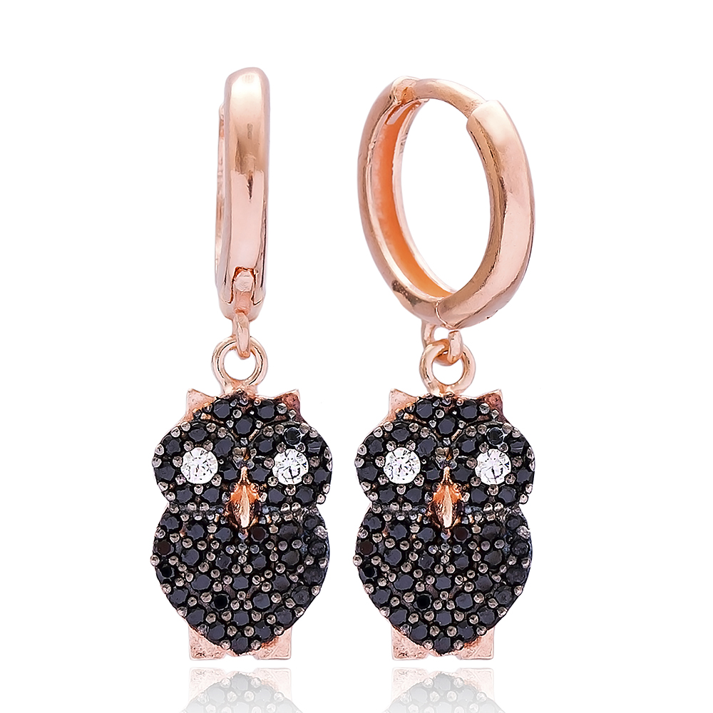 Owl Design Dangle Earring, Turkish Wholesale 925 Sterling Silver Earring