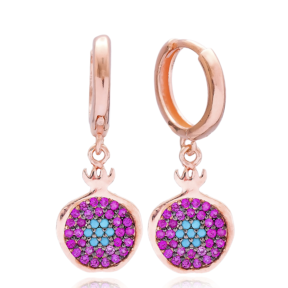 Evil Eye Pomegranate Dangle Earring, Turkish Wholesale 925 Sterling Silver Earring