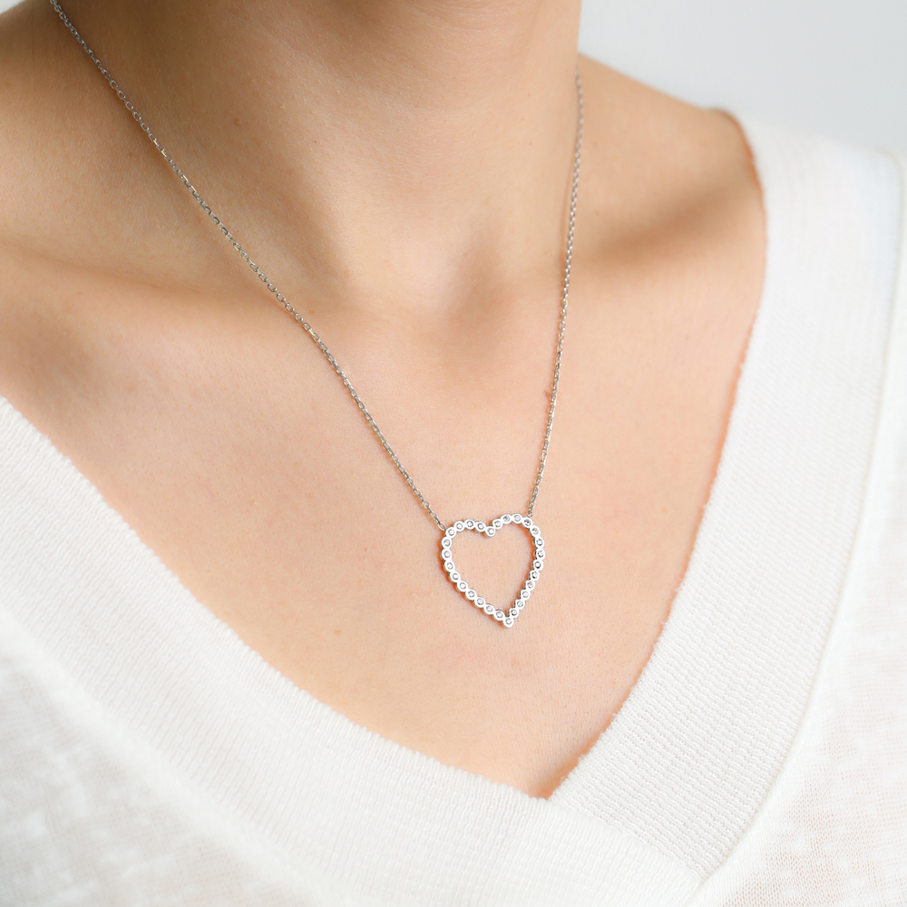 Heart Design Hollow Pendant Design Silver Wholesale 925 Sterling Silver Jewelry