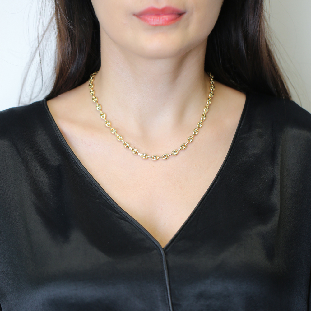 6 mm Thickness Unique Design Chain Necklace Turkish 925 Sterling Silver Jewelry