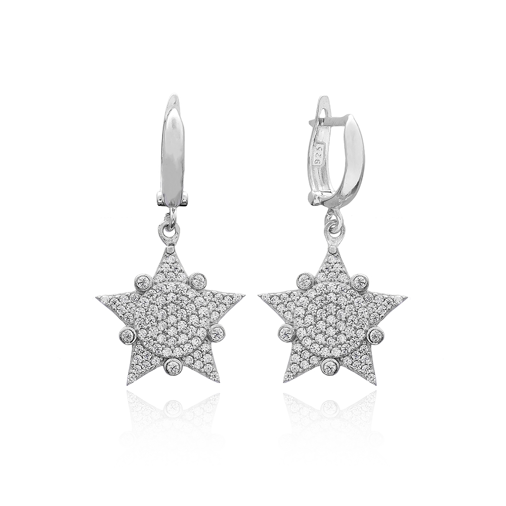 Sheriff Star Design Turkish Wholesale 925 Sterling Silver Jewelry Earring