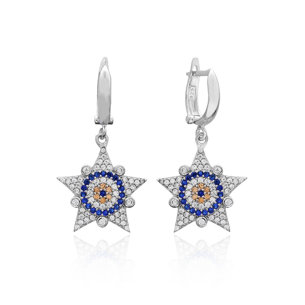 Evil Eye Sheriff Star Design Turkish Wholesale 925 Sterling Silver Jewelry Earring