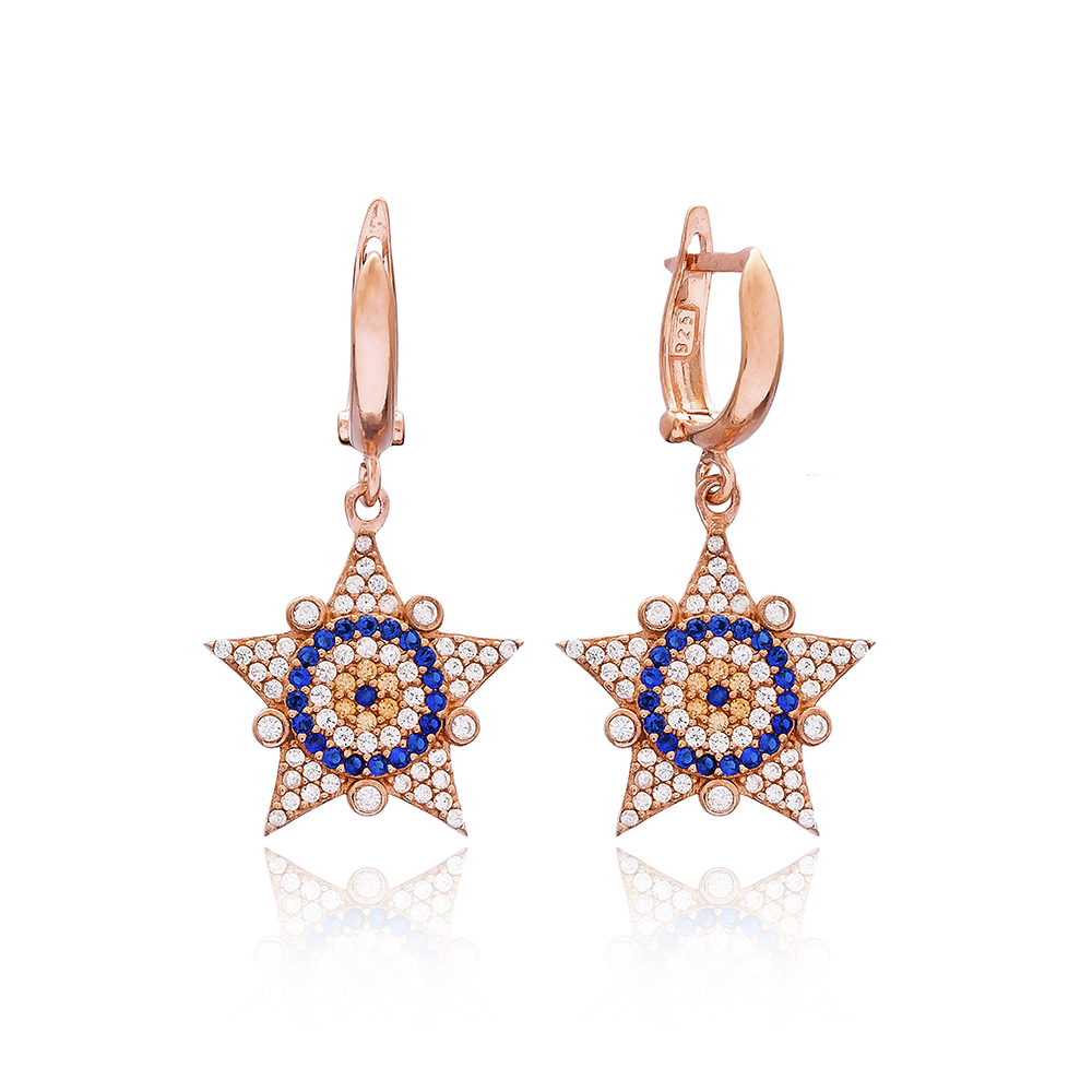 Evil Eye Sheriff Star Design Turkish Wholesale 925 Sterling Silver Jewelry Earring