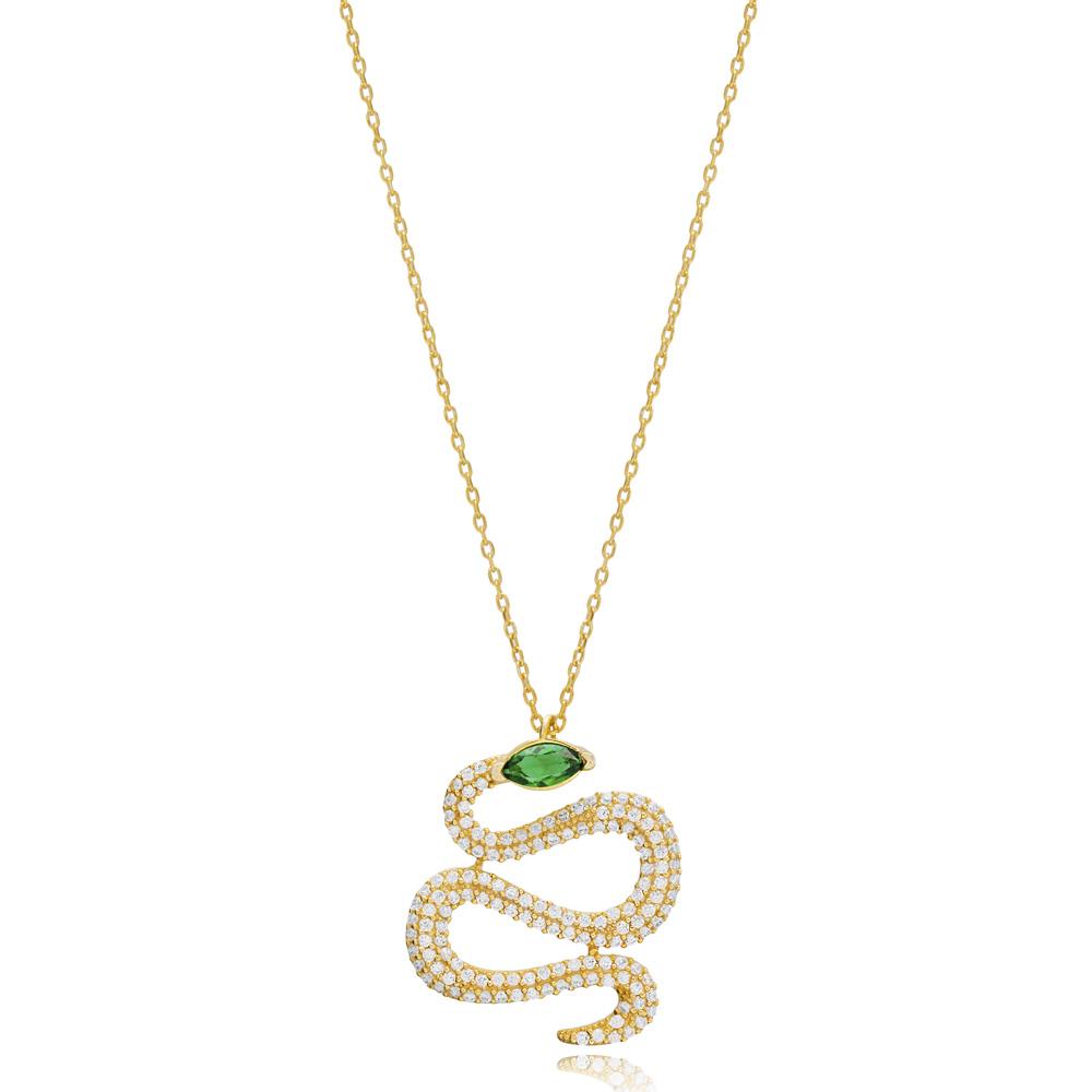 Snake Design Turkish Wholesale 925 Sterling Silver Charm Pendant