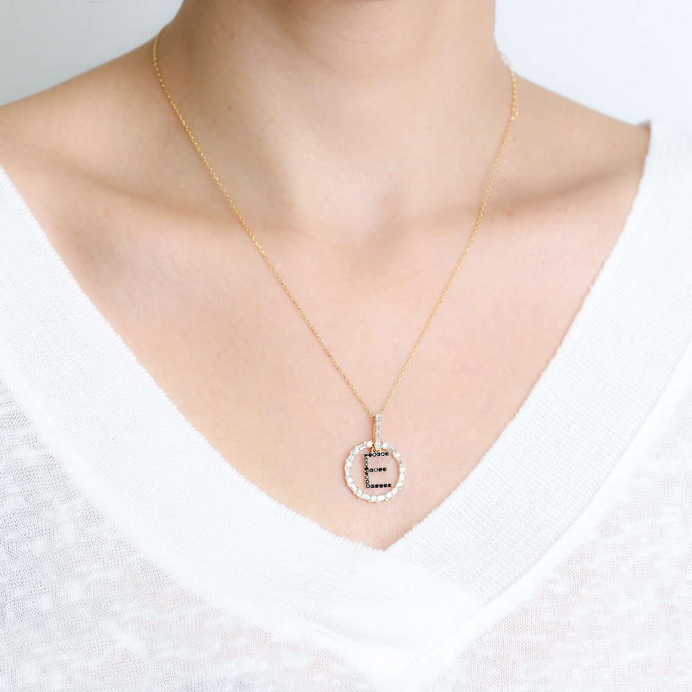 Alphabet Letter Swinging Design Necklace Turkish Wholesale Handmade 925 Sterling Silver Jewelry