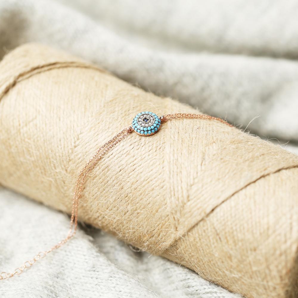 Turquoise Round Evil Eye Sterling Silver Wholesale Handcraft Turkish Bracelet