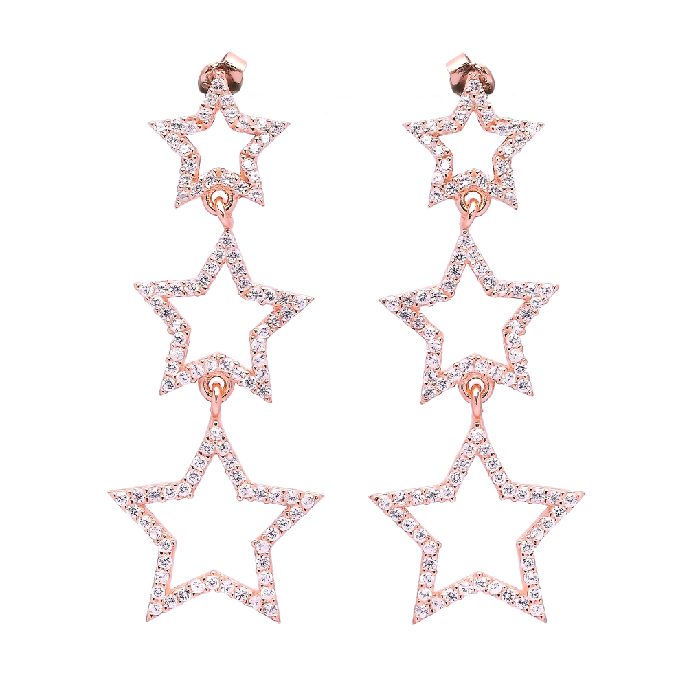 Star Turkish Wholesale Handcrafted Silver Bridal Earring
