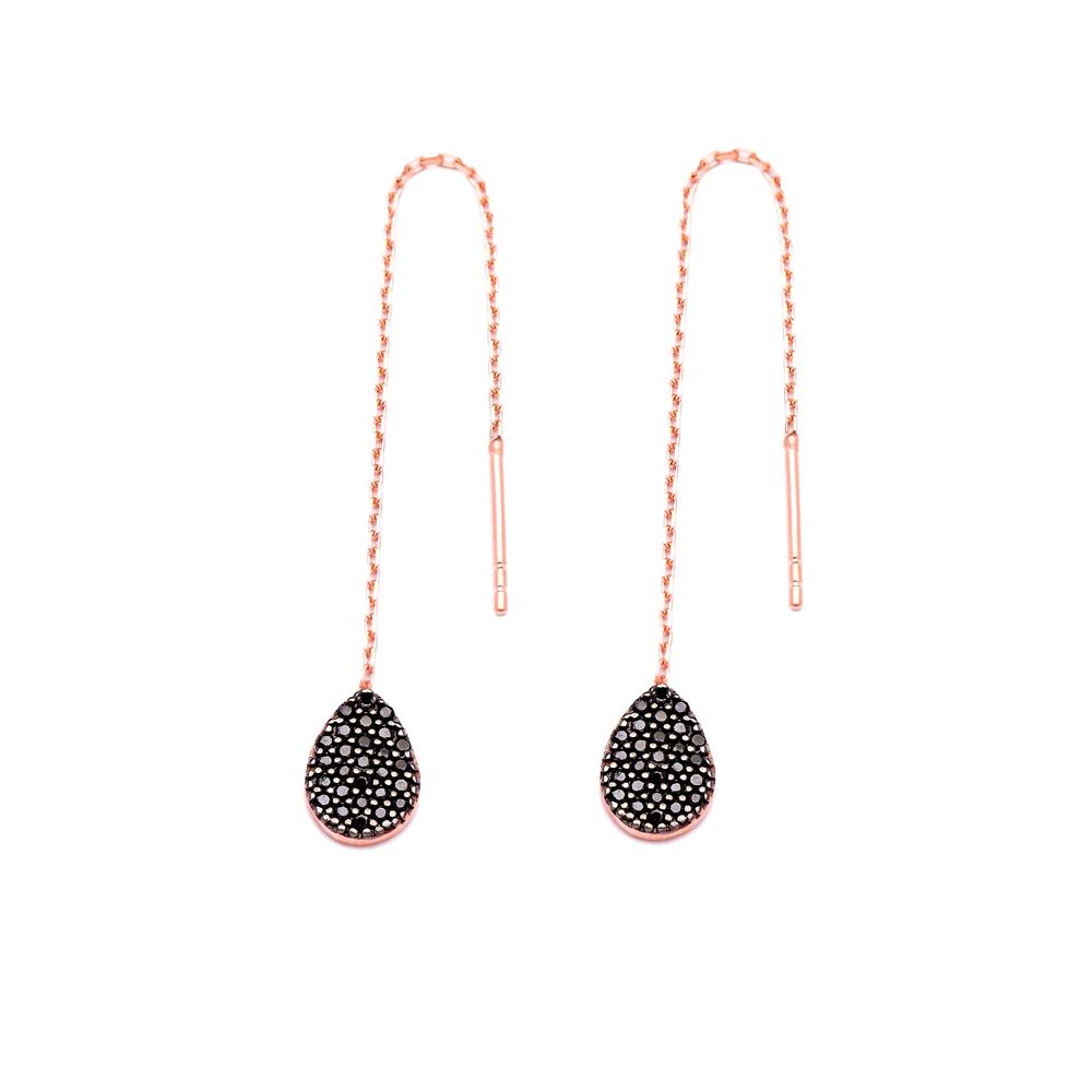 Sterling Silver Ear Thread Drop Shape Earrings Turkish Wholesale Sterling Silver Chain Earring