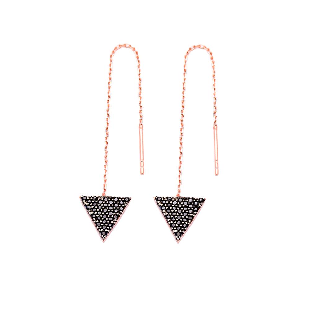 Sterling Silver Ear Thread Triangle Shape Earrings Turkish Wholesale Sterling Silver Chain Earring