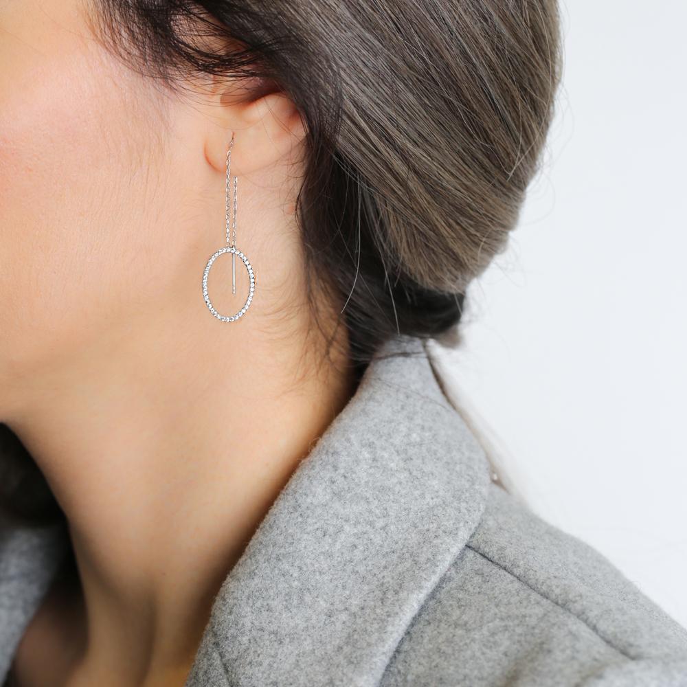 Ear Thread Earrings Turkish Wholesale 925 Sterling Silver Chain Earring