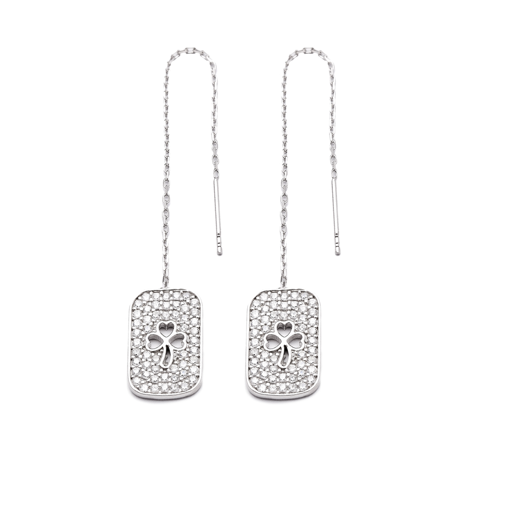 Sterling Silver Ear Thread Clover Shape Earrings Turkish Wholesale Sterling Silver Chain Earring