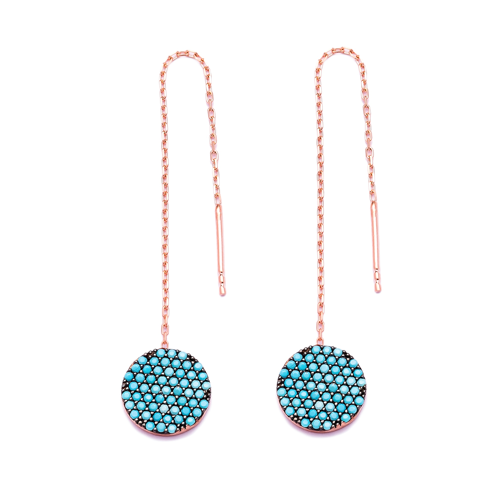 Nano Turquoise Ear Cuff Circle Design Turkish Wholesale Handcrafted Silver Earring