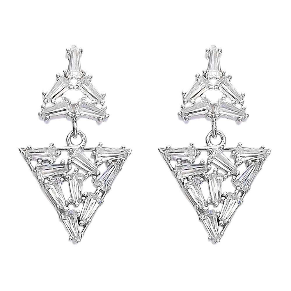 Dangle Push Back Baguette Stone Earrings Turkish Wholesale Sterling Silver