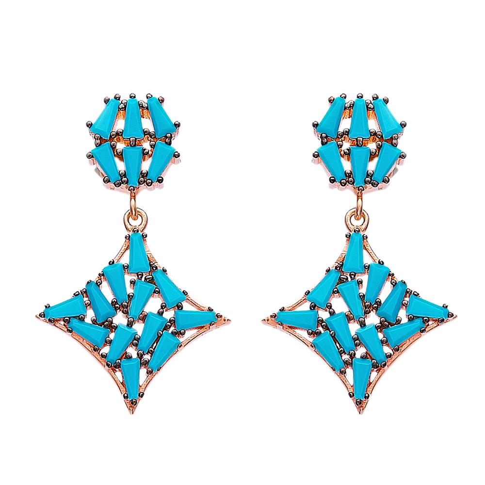 Dangle Baguette Zircon Stone Earrings Turkish Wholesale Sterling Silver