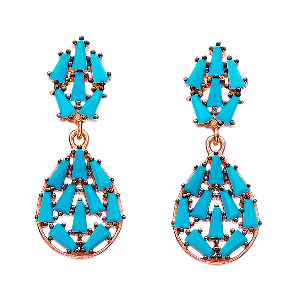 Dangle Baguette Zircon Stone Earrings Turkish Wholesale Sterling Silver