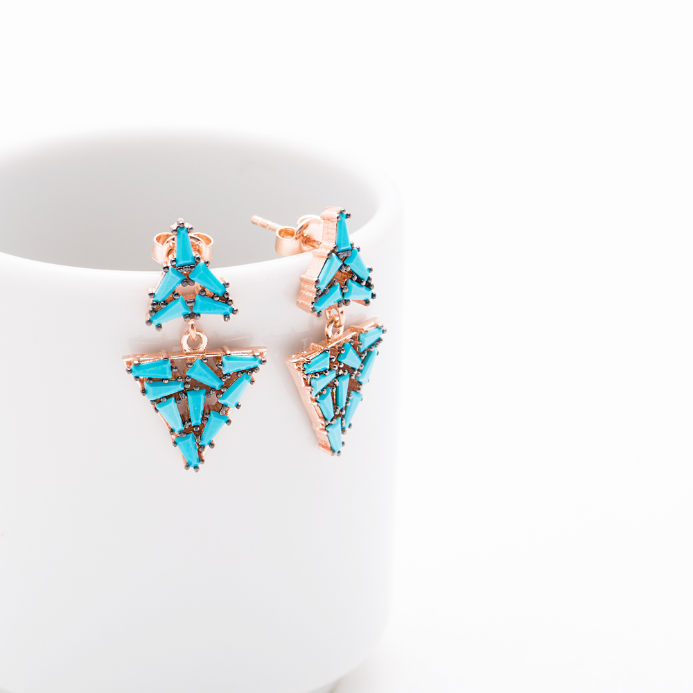 Dangle Baguette Turquoise Stone Earrings Turkish Wholesale Sterling Silver