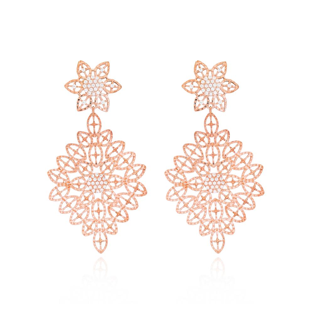 Filigree Design Chandelier Earrings Turkish Wholesale 925 Sterling Silver Jewelry