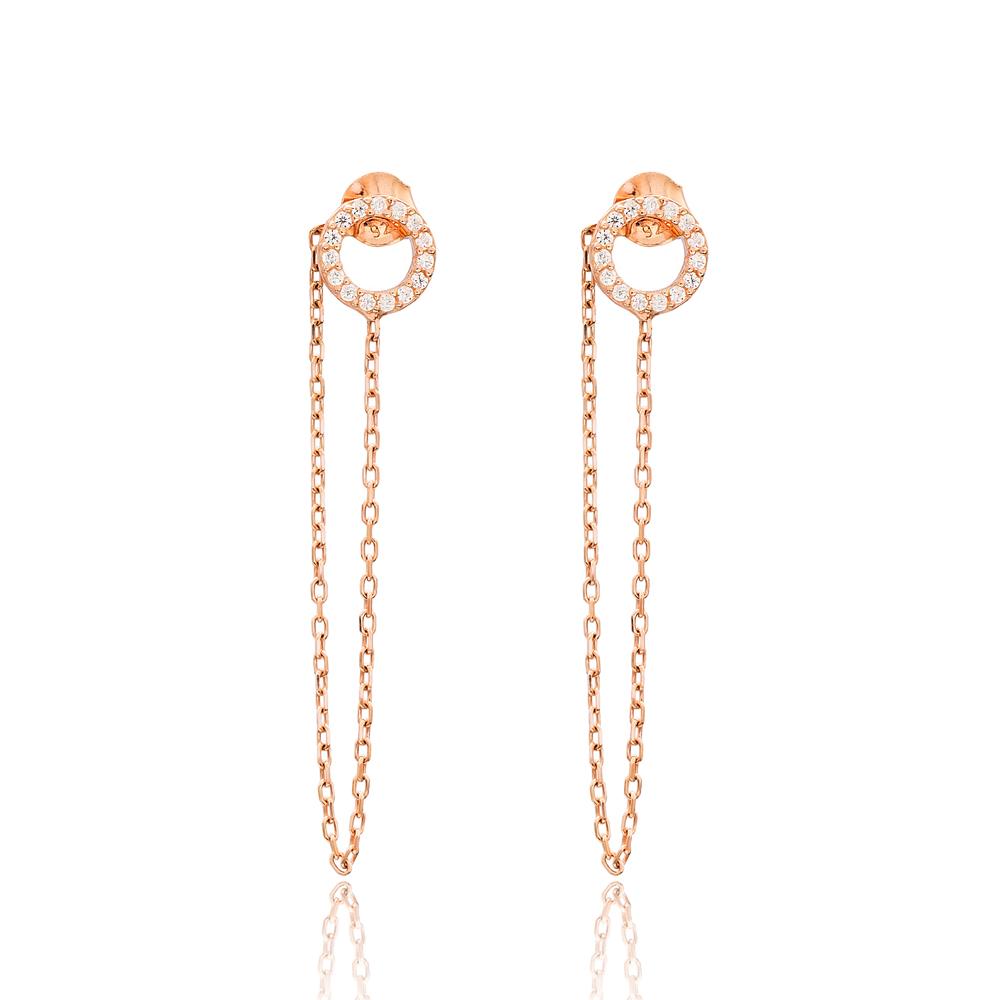 Push Back Ear Thread Earring Wholesale Sterling Silver Chain Earrings