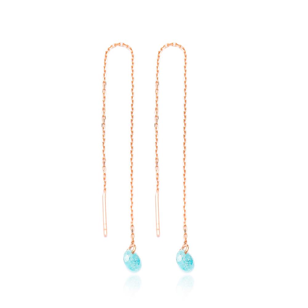 Gemstone Threader Earrings Wholesale Sterling Silver Chain Earrings
