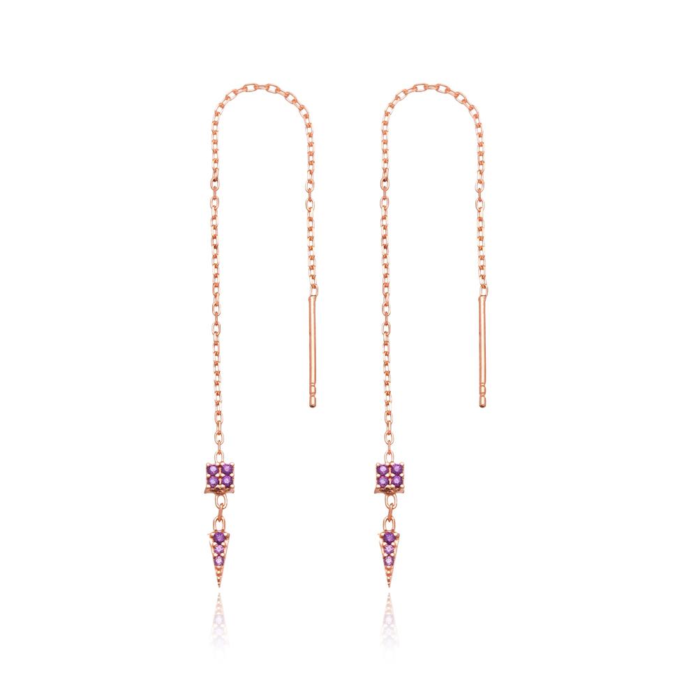 Amethyst Stone Threader Earrings Wholesale 925 Sterling Silver Jewelry