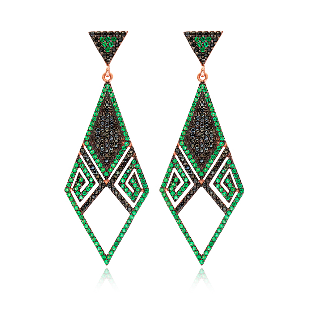 Emerald Delicate Chandelier Earrings Turkish Wholesale 925 Sterling Silver Jewelry
