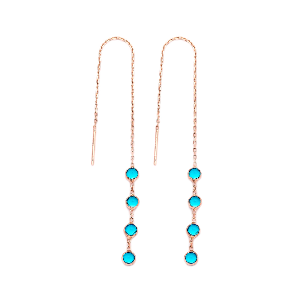 Aquamarine Elegant Threader Earrings Wholesale 925 Sterling Silver Jewelry