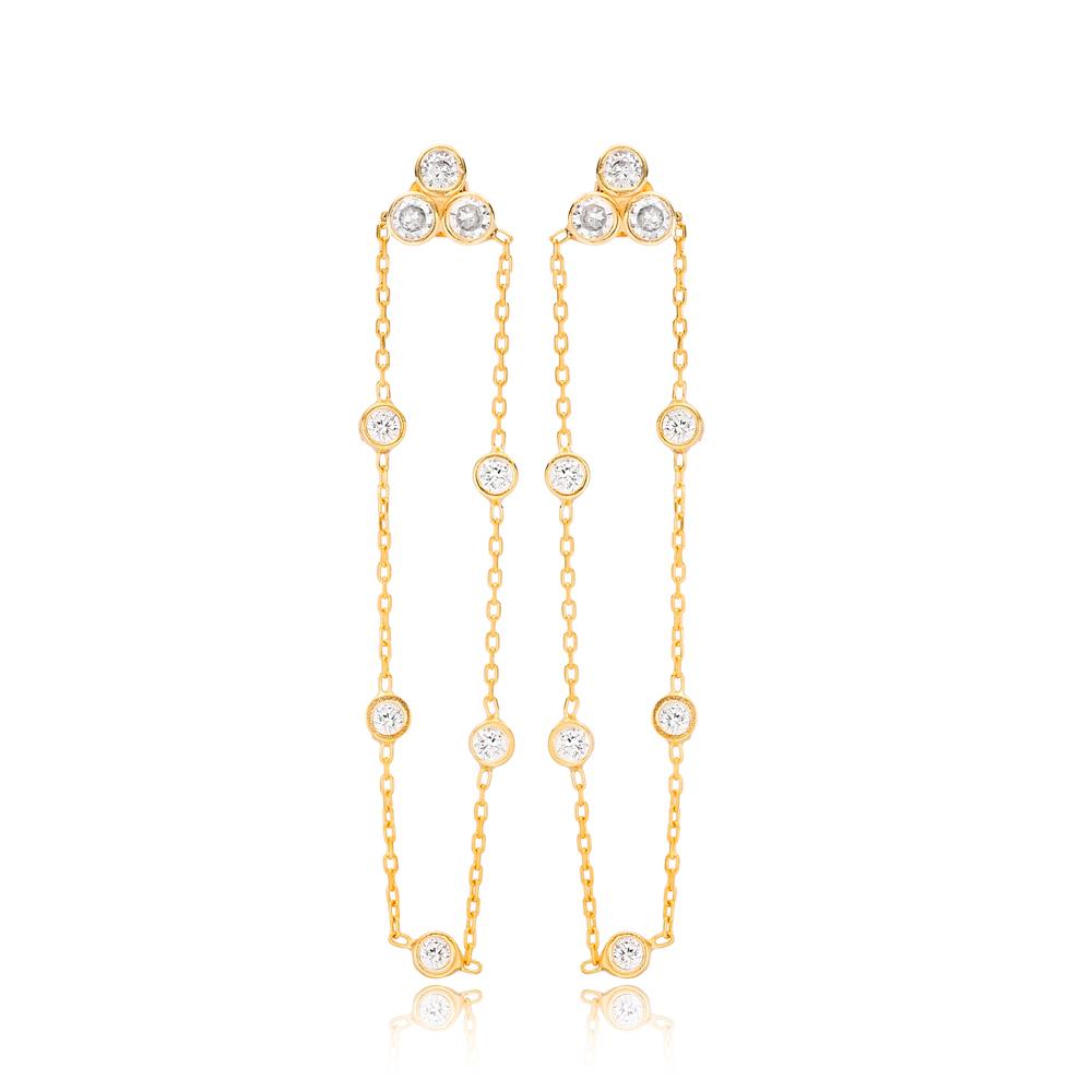 54 mm Chain Zircon Stone Push Back Ear Thread Earrings Wholesale 925 Sterling Silver Jewelry