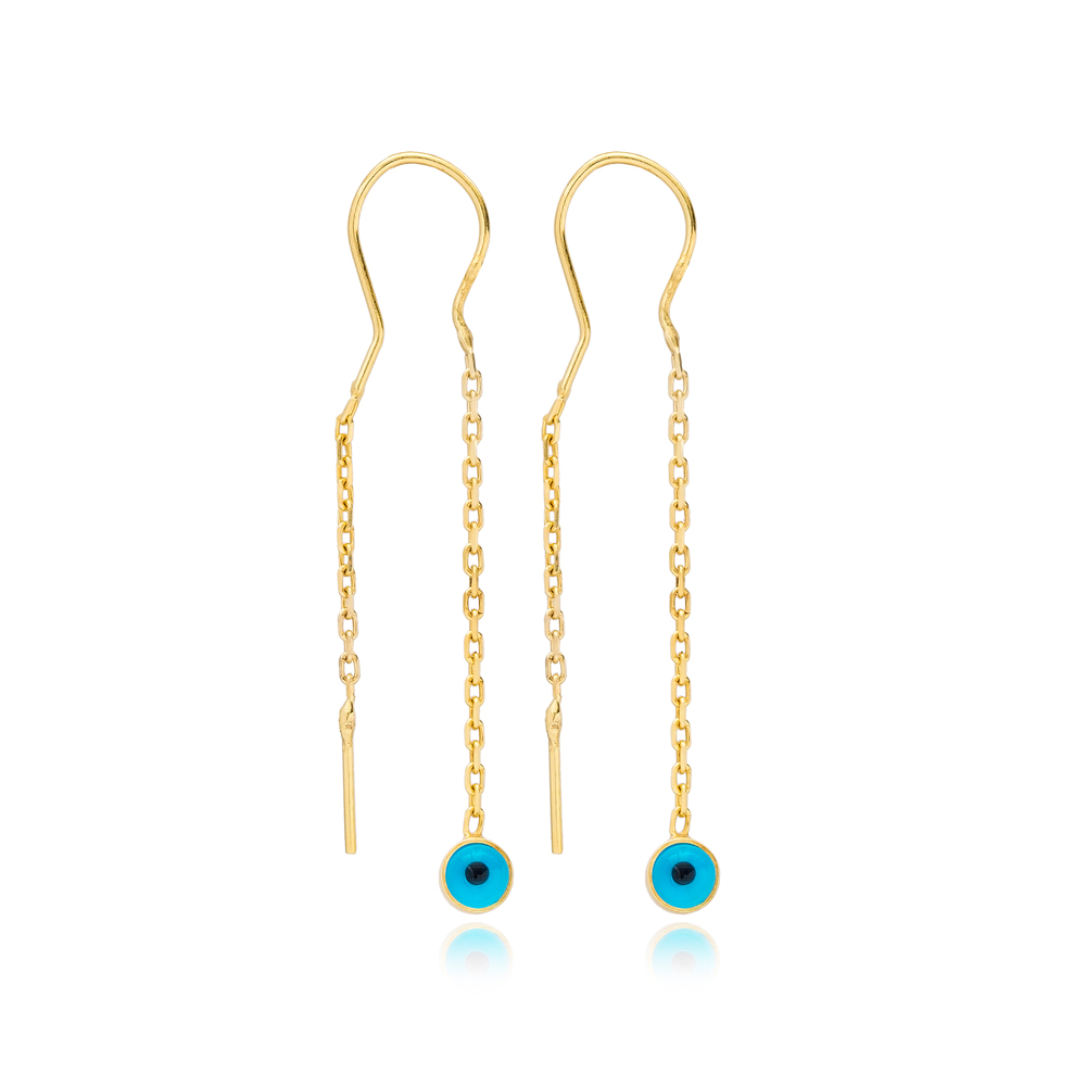 Dainty Evil Eye Design Threader Earrings Wholesale 925 Sterling Silver Jewelry