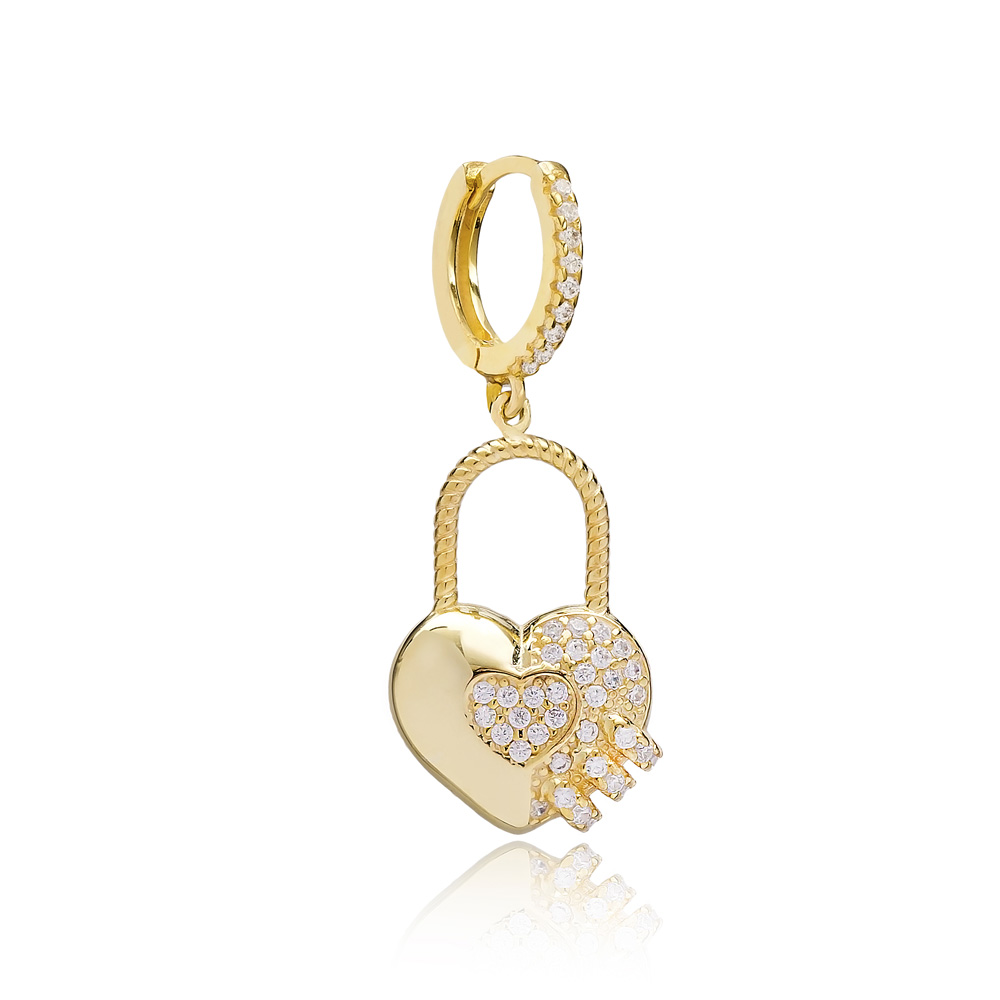 Heart In Padlock Design Single Earring Turkish Wholesale Handmade 925 Sterling Silver Jewelry