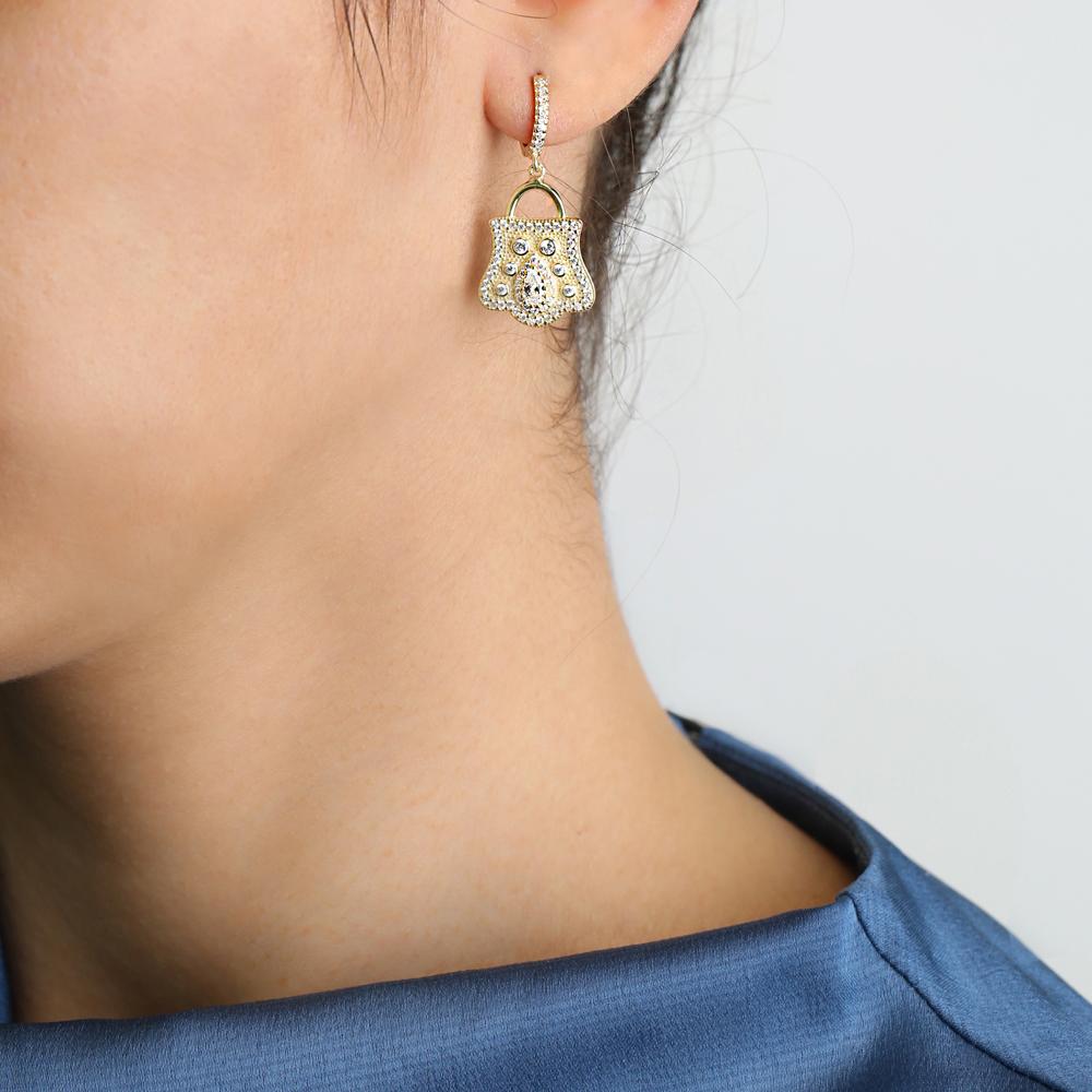 Padlock Design Single Earring Turkish Wholesale Handmade 925 Sterling Silver Jewelry